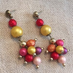 Vintage Bright Colored Faux Pearl Earrings Dangle